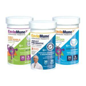 EndoMune Kids Chewable Kids Powder Adult Probiotic Family Bundle