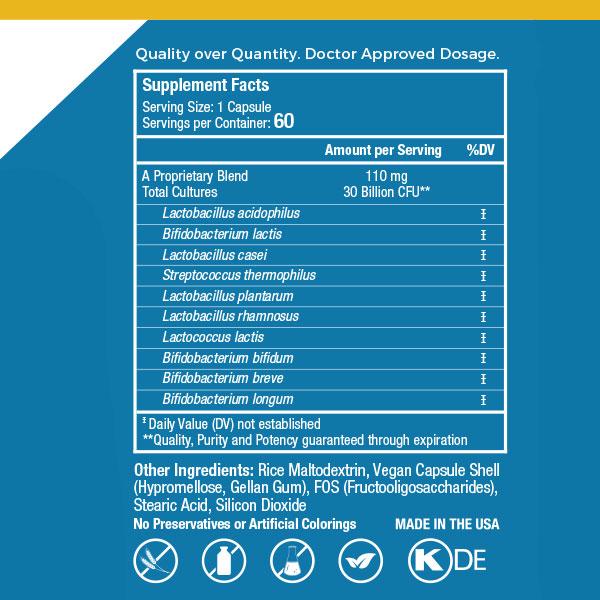 EndoMune Adult Probiotic Ingredients Label
