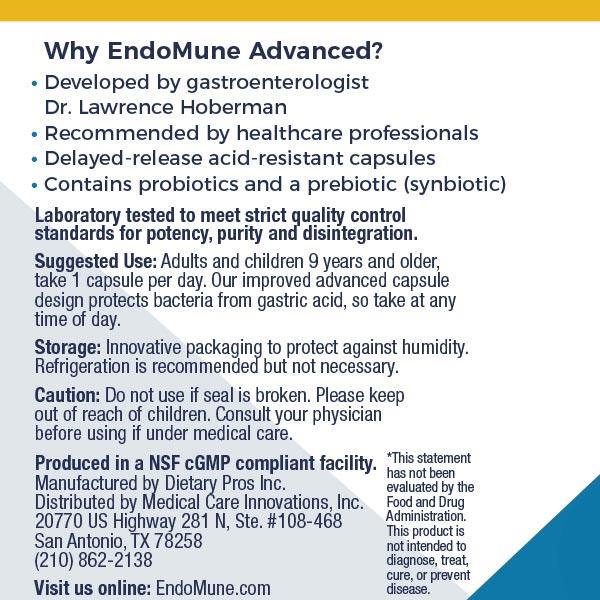 EndoMune Adult Probiotic Usage Label