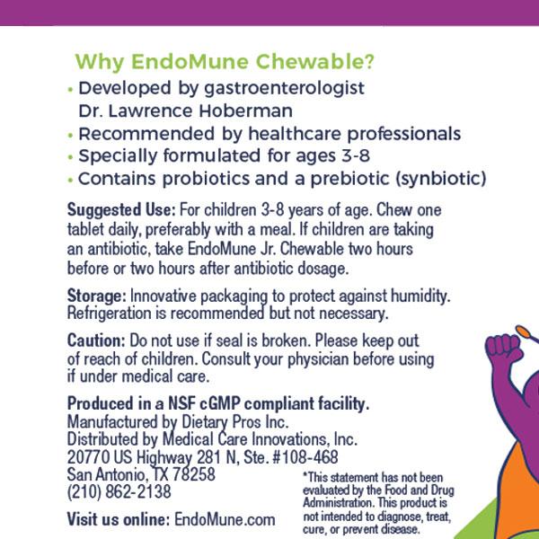EndoMune Chewable Probiotic Usage Label