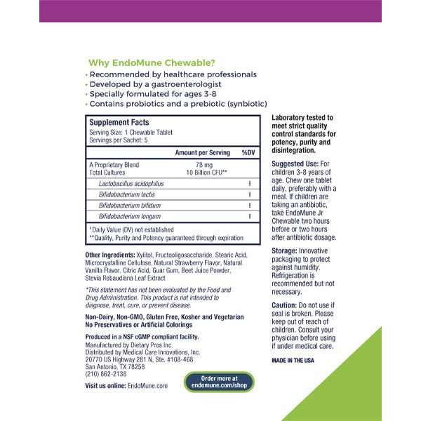 EndoMune Chewable Trial Pack Label