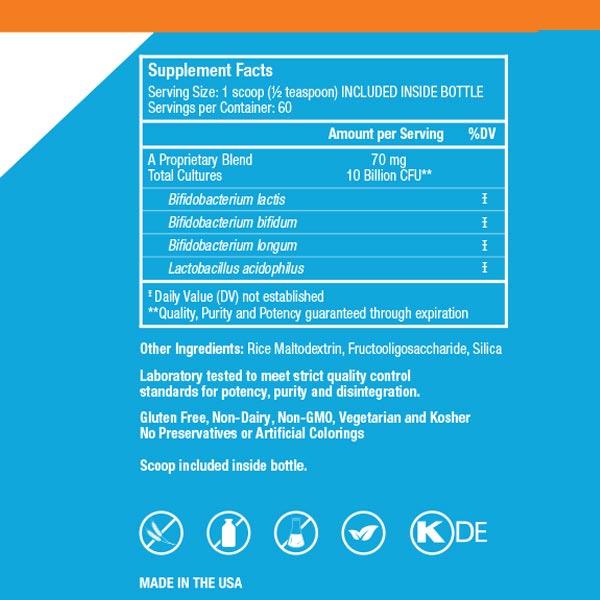 EndoMune Junior Advanced probiotic nutritional label