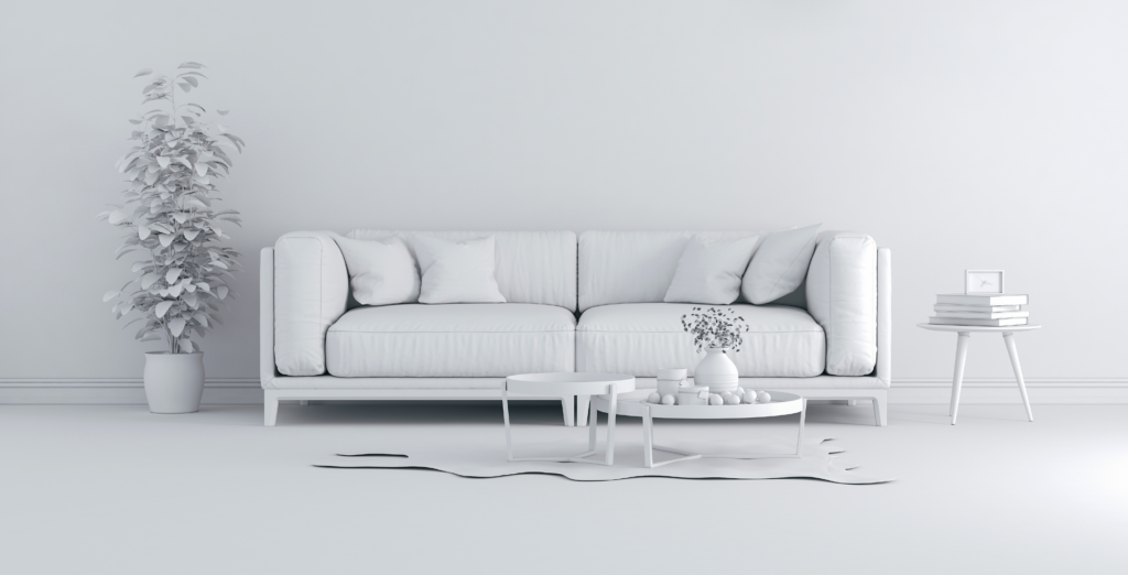 sterile white couch