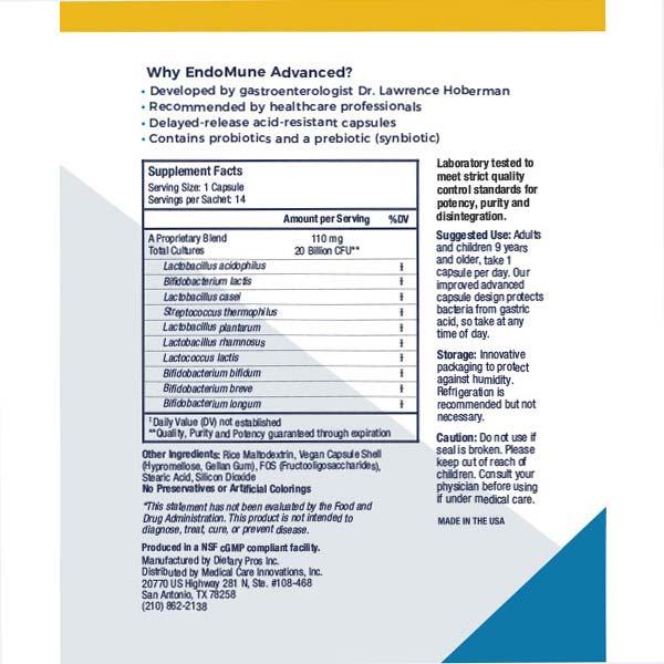 EndoMune advanced nutritional label