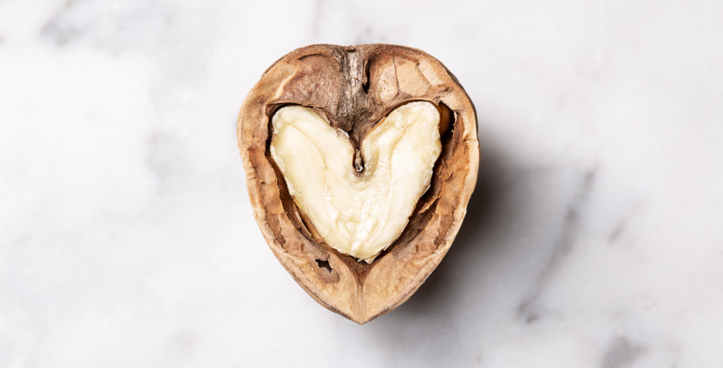 Walnut in the shape of a heart