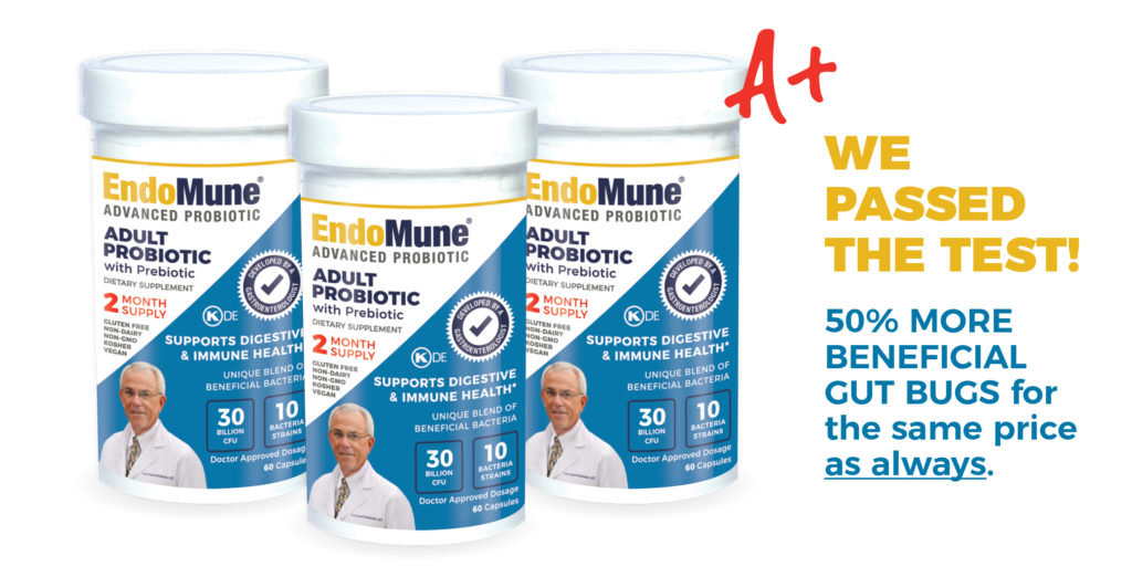 EndoMune Advanced Adult Probiotic passed the test! Image of bottles.