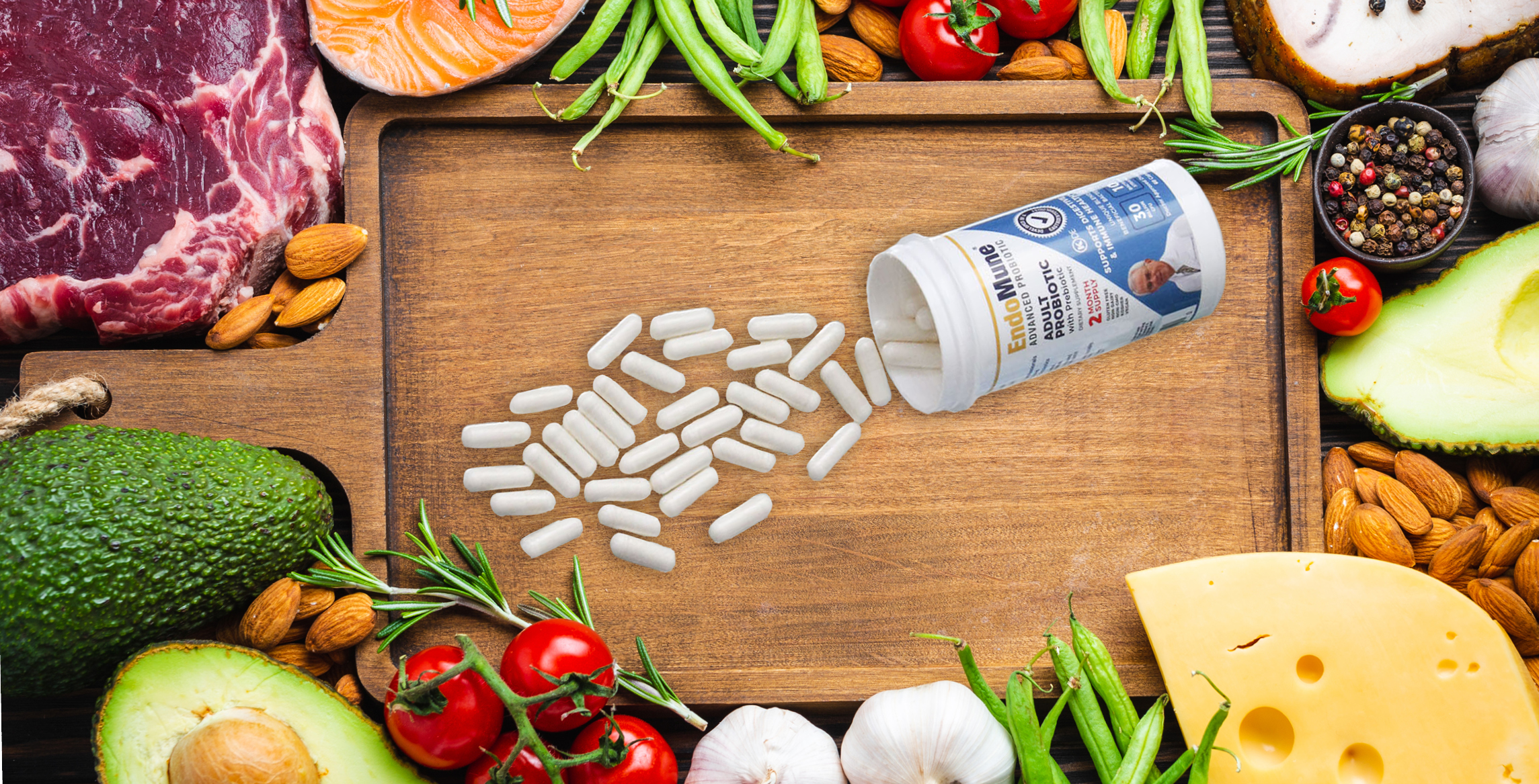 EndoMune pills on a cutting board, surrounded by various fresh vegetables