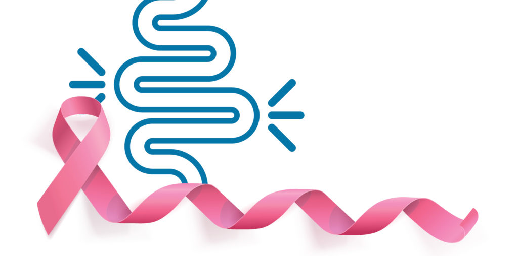 image of intestines and pink ribbon for breast cancer awareness