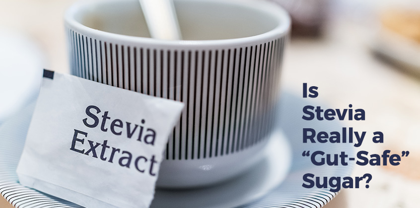 "Text over coffee mug: Is Stevia Really A ""Gut-Safe"" Sugar?"