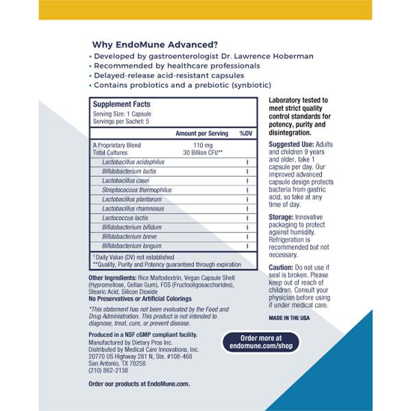 EndoMune Adult Probiotic Sachet Label