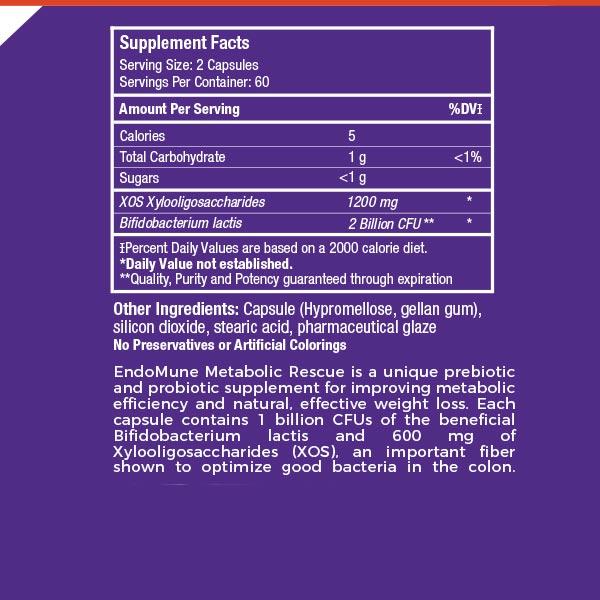 EndoMune Metabolic Rescue Ingredients Label