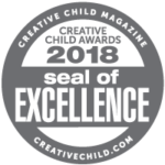 Seal of excellence icon. TEXT: creative child magazine creative child awards 2018 seal of excellence creativechild.com