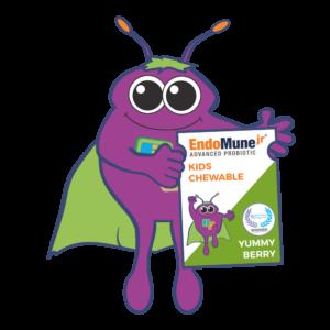 The EndoMune cartoon mascot Hobie holds up an EndoMune Kids Chewable pack