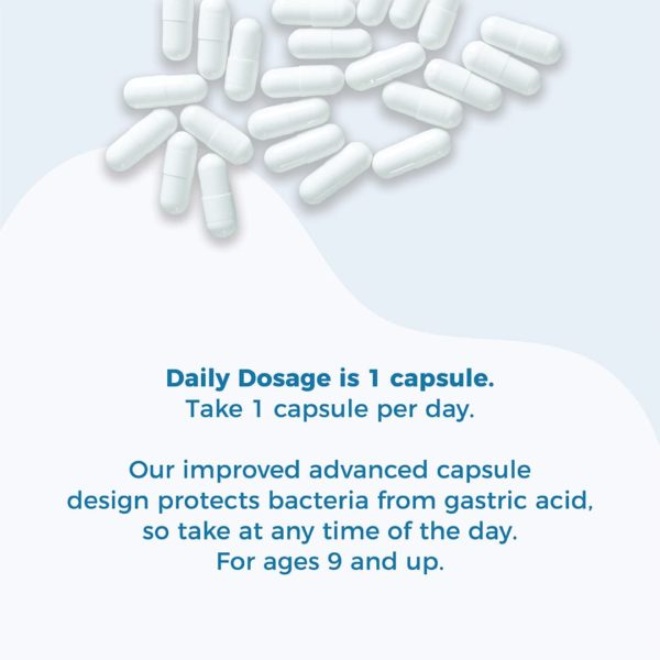 Loose capsules overtop a curved abstract shape. Text: Daily Dosage is 4 capsules