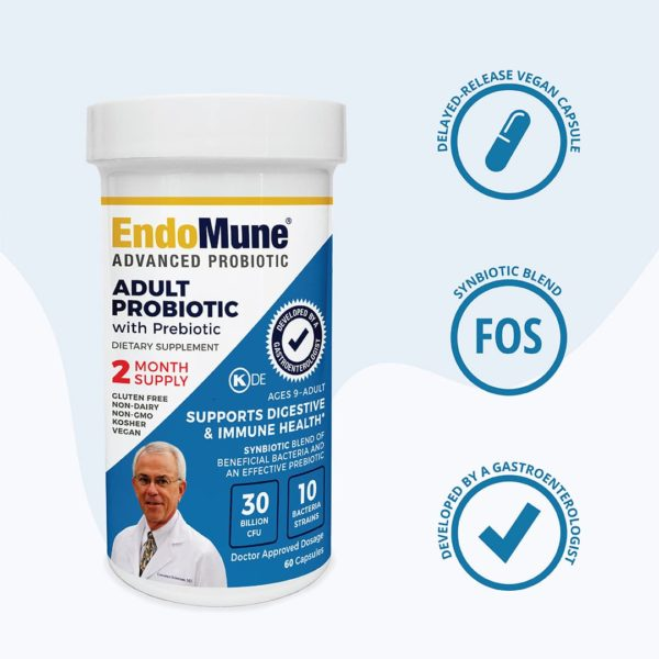 Three icons next to EndoMune EMR bottle. Developed By A Gastroenterologist Icon. Delayed-release vegan capsule Icon. Synbiotic Blend Icon.