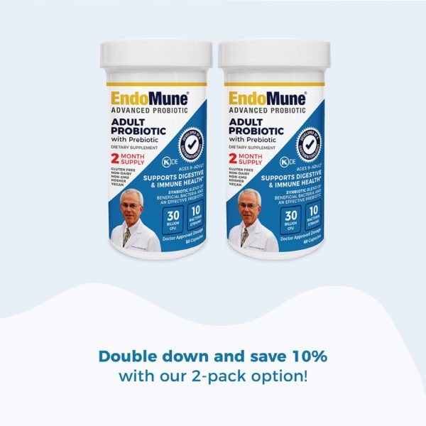 two EndoMune pill bottles side by side. TEXT: Double down and save 10% with our 2-pack option!