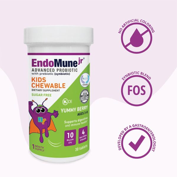Three icons next to EndoMune EMR bottle. Developed By A Gastroenterologist. No Artificial Coloring Icon. Synbiotic Blend Icon