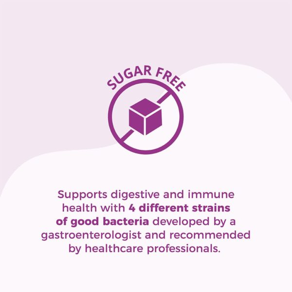 Purple circle icon with cross-through and cube in center: Text: Sugar Free