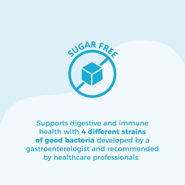 blue circle icon with cross-through and cube in center. Text: Sugar Free. Supports digestive and immune health with 4 different strains of good bacteria developed by a gastroenterologist and recommended by healthcare professionals.