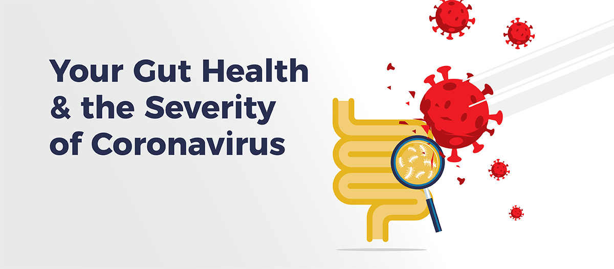 Yellow illustration of a gut with a magnifying glass being held up to it and showing probiotic bacteria while enlarged red illustrations of coronavirus are being smashed against the gut illustration and breaking
