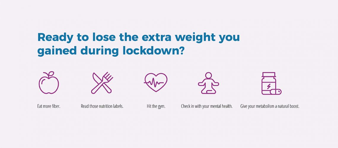 text graphic: Ready to lose the extra weight you gained during lockdown? Eat more fiber. Read those nutrition labels. Hit the gym. Check in with your mental health. Give your metabolism a natural boost.