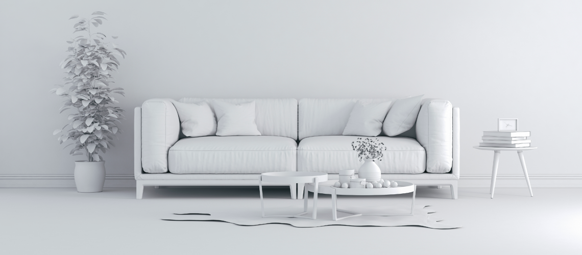 sterile white couch in an all white room