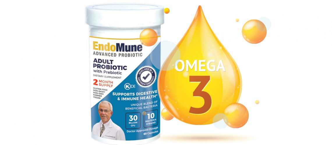 bottle of EndoMune Advanced Probiotic next to a digital graphic of Omega-3 oil